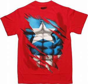 Captain America Rip Through T Shirt