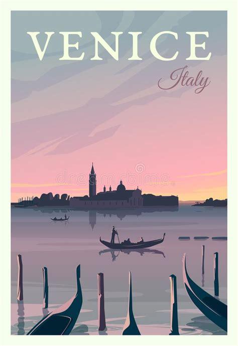 Vector Gondolas In Venice Lagoon, Italia Stock Vector ...