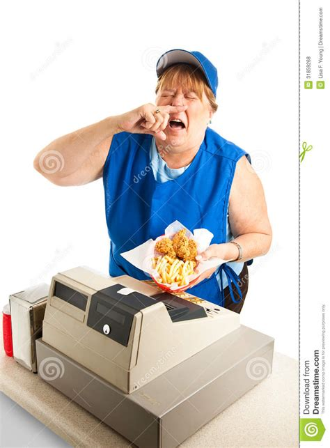 fast food worker sneezing  meal royalty  stock
