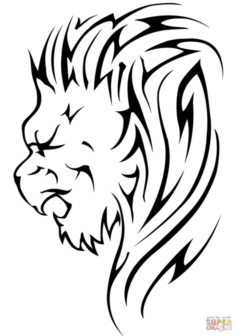 Lion Head Tattoo Coloring Page Free Printable Coloring Pages