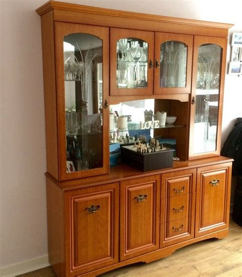 Cabinet Dining Room - display cabinet glass wooden mirrored unit living room