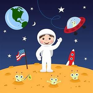 QuotFriends In Space Cute Cartoon Wall Art With Boy Astronaut