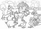 Farm Coloring Scene K5 Worksheets sketch template