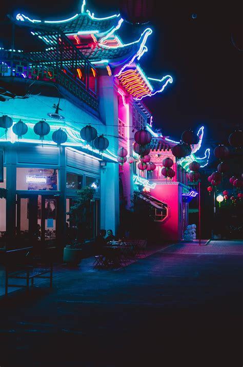 chinatown los angeles neon lights  night photography