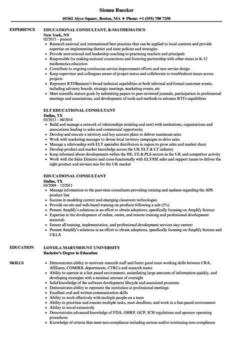 It Consulting Resume by Educational Consultant Resume Vvengelbert Nl