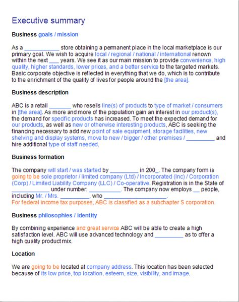summary for retail best photos of executive business plan template executive summary business plan template
