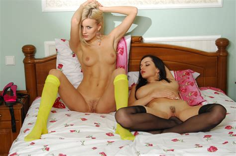 Two Russian Girls In Colorful Lingerie In Bed Russian
