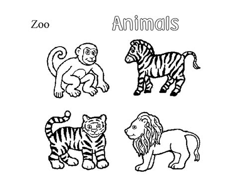animals coloring pages zoo  kids