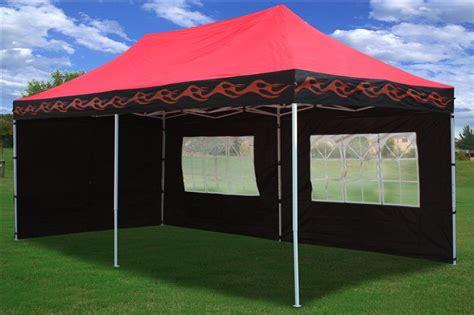 pop   wall canopy party tent gazebo set ez black  red flame ebay
