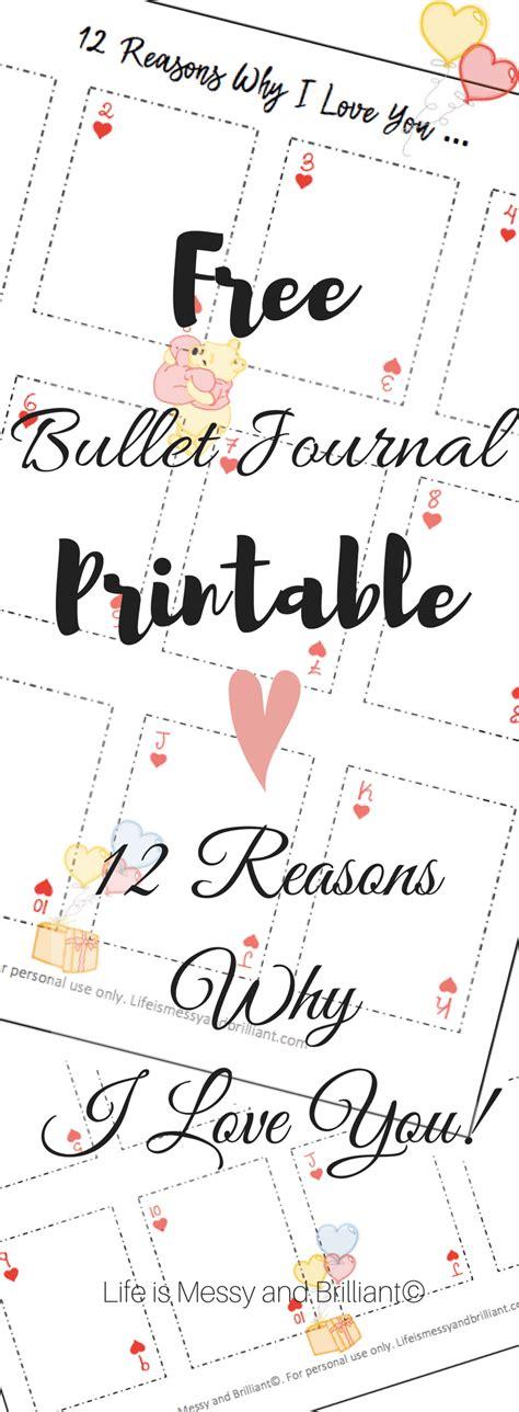 reasons   love  bullet journal printable