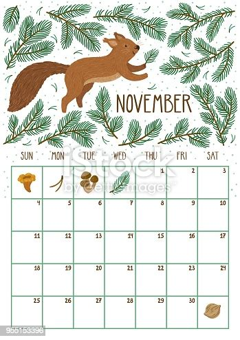 vector monthly calendar  cute squirrel november