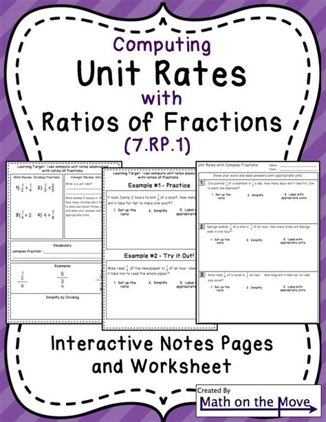 unit rates with fractions interactive notes and practice