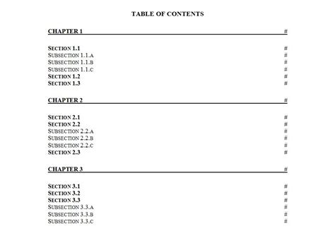 content template table of contents template word table of contents word template