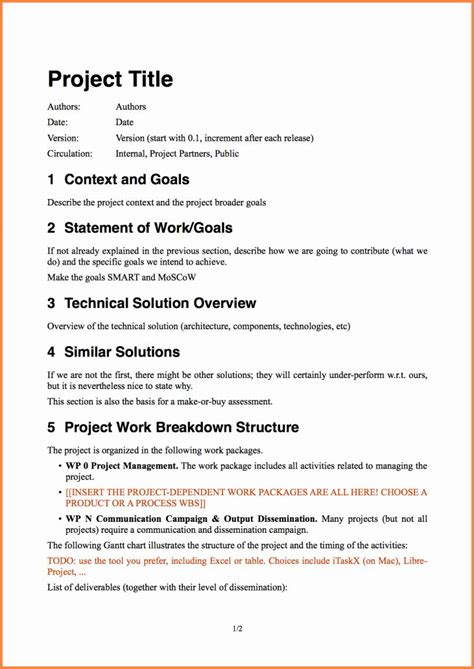 sample project proposal template lovely  software project