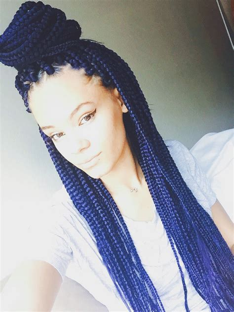 Box Braids Blue Protective Style Hair Pinterest