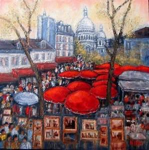 Peinture De Paris Poissy : place du tertre a paris peinture nicole biles ~ Premium-room.com Idées de Décoration