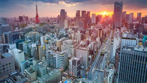tokyo skycrapper building sunset cityscape full hd