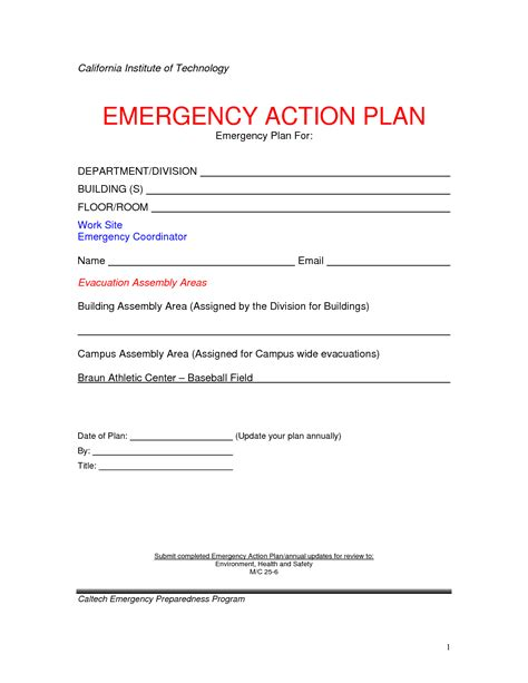 emergency action plan template  commercewordpress