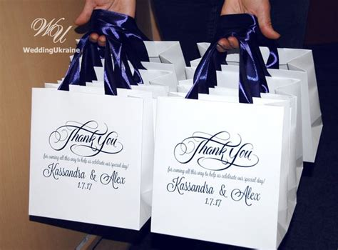 30 Wedding Welcome Bags With Navy Blue Satin Ribbon And Names