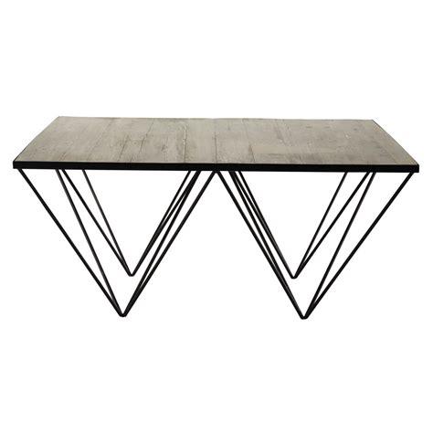 kreabel cuisine table basse carre en bois recycl et mtal l cm with