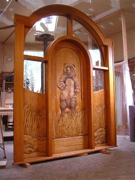 wood carved entry doors rustic entry boise