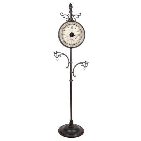 fusion solar outdoor bronze clock with hanging hooks and