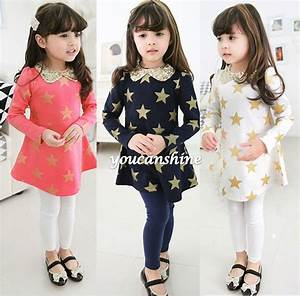 New Fashion Cute Toddler Kids Baby Girl Princess Clothing Gold Star Christmas Gift Turn Down ...