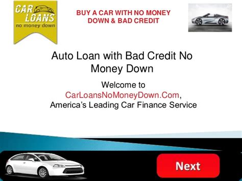 Auto Financing With Bad Credit No Money Down