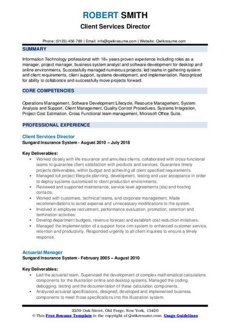 Gis Resume Format by Client Services Director Resume Sles Qwikresume