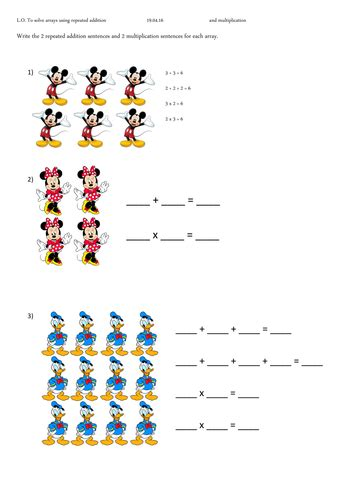 repeated addition and multiplication yr 1 ks1 disney by