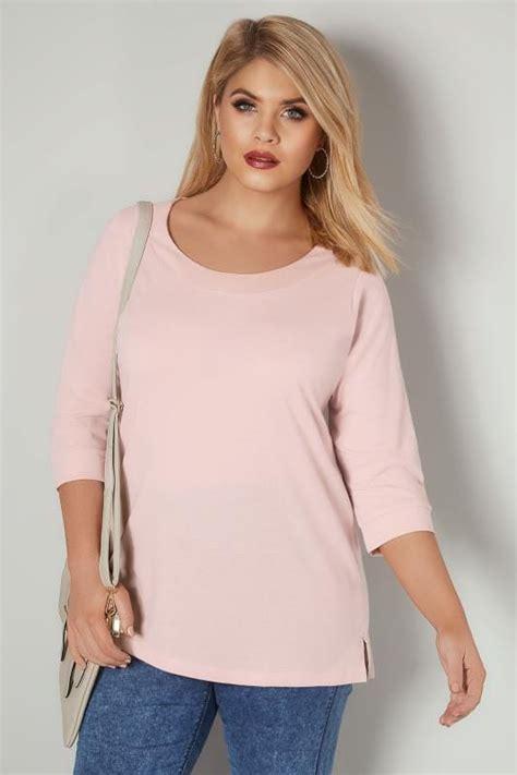 light pink band scoop neckline  shirt   sleeves
