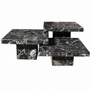 set of three black italian marble pedestal coffee tables With set of three coffee tables