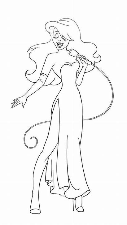 Jessica Ariel Rabbit Roger Lineart Coloring Pages