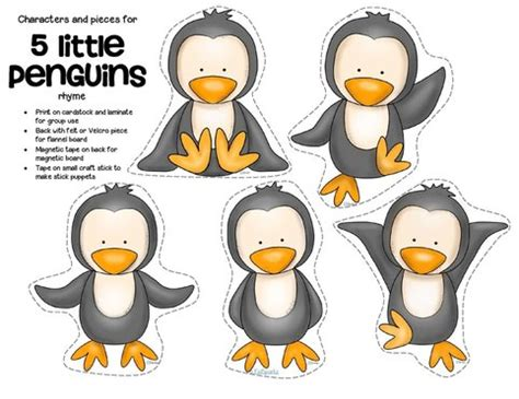 four counting rhymes for circle time kidsparkz 241 | 5 little penguins free page 1