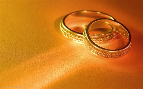 wedding rings pair golden gold hd widescreen wallpaper
