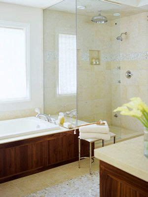 open shower  separate tub small bathroom solutions