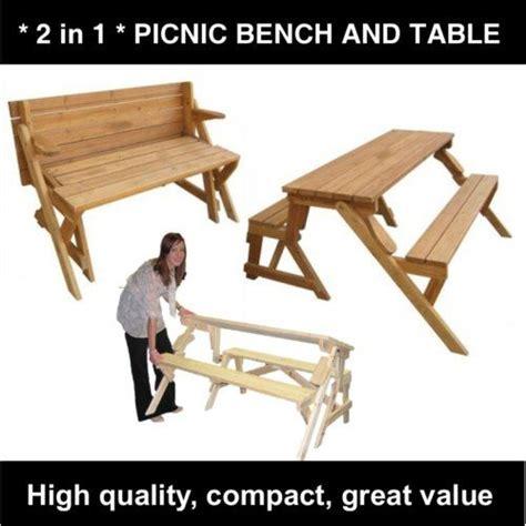 details  wood folding garden picnic table  bench