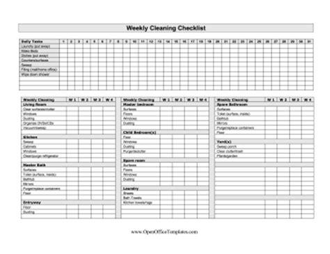 week cleaning checklist openoffice template