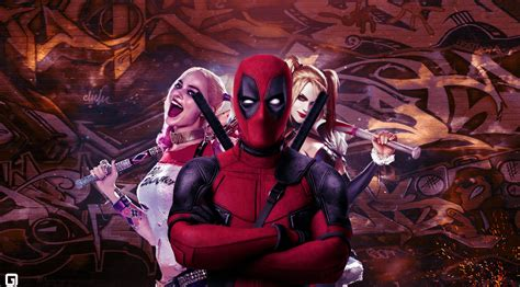 wallpaper deadpool harley quinn artwork  movies