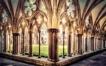 Medieval Architecture Church Courtyard Backgrounds Wallpapers Cathedral