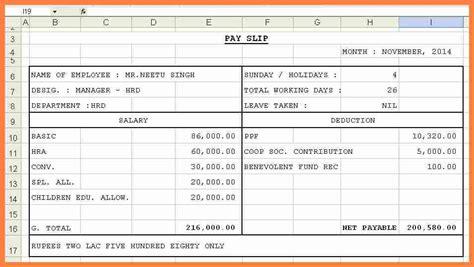 salary pay sheet format salary slip