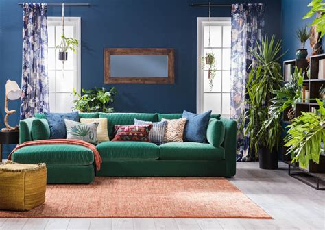 Justina Blakeney's New Collection For Living Spaces Broyhill Zachary Sofa And Loveseat Bed Made In Malaysia Grey Walls With Blue Marshmallow Flip Open Mickey Mouse Best Set Delhi Bestway 5 1 Air Leather Look Chennai Rowe Reviews 2018