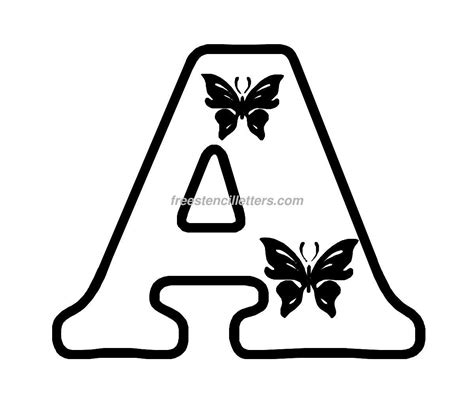 Letter Print by Free Butterfly Stencils To Print Print A Letter Stencil