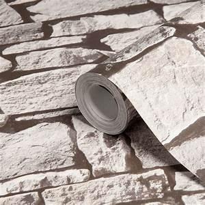 Colours Grey Stone Effect Wallpaper
