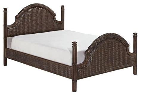 Hawthorne Collections Queen Rattan Platform Bed, Rich Dark