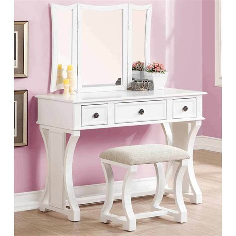 Vanity Table With Mirror And Drawers by Tri Folding Mirror Curved Lines Vanity Makeup Table Bench