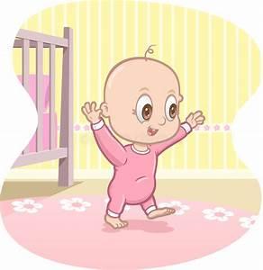 Baby Learns To Walk - Vector Cartoon Stock Vector - Image ...