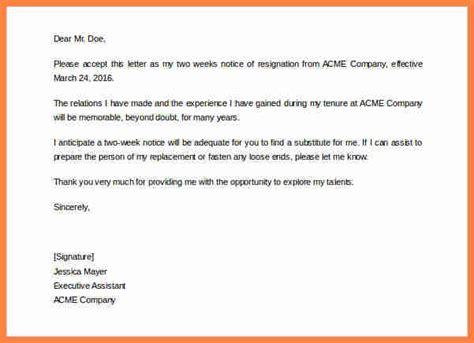 generic  week notice notice letter