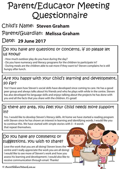 parent meeting templates aussie childcare network