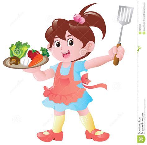 femme chef cuisine kleines mädchen kochen stock abbildung illustration